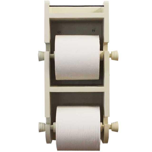 トイレットペーパーホルダー 木製 ひのき ダブル 二連 太巻きペーパー アイアンシェルフ 縦型ダブルトイレットペーパーホルダー アンティークホワイト 受注製作