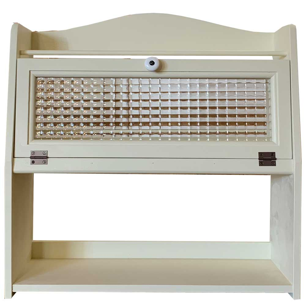 三段スパイスラック チェッカーガラス扉 アンティークホワイト 木製 ひのき ハンドメイド オーダーメイド