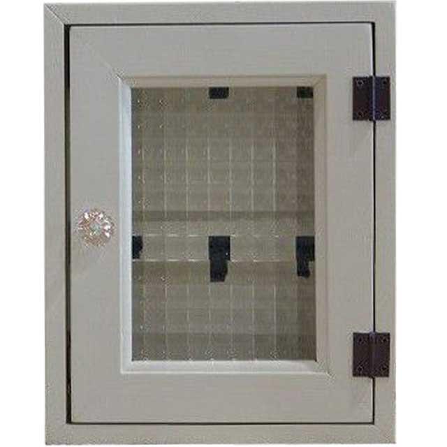 アンティークホワイト チェッカーガラスのパンプキンノブキーボックス 黒フック(角型タイプ・マグネット仕様)ニッチ用埋込タイプ 木製 オーダーメイド 1327933