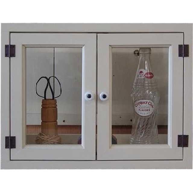 アンティークホワイト 透明ガラスのキャビネット マグネット仕様(ニッチ用埋め込みタイプ) 受注製作