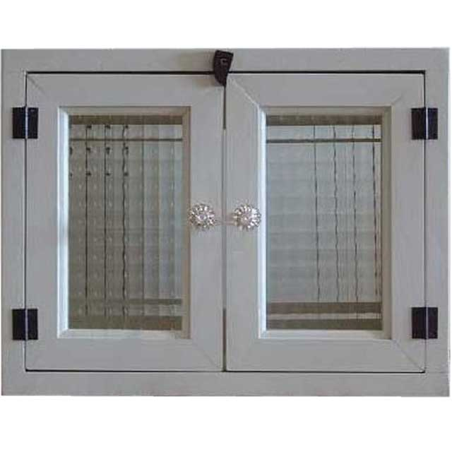 アンティークホワイト チェッカーガラスのキャビネット(ニッチ用埋め込みタイプ)パンプキンノブ開閉クリット仕様 北欧 オーダーメイド 1239454