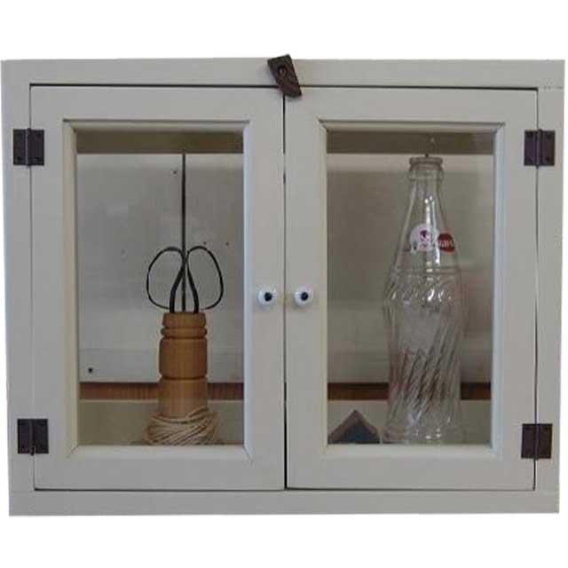 アンティークホワイト 透明ガラスのキャビネット(ニッチ用埋め込みタイプ)開閉クリット仕様 受注製作