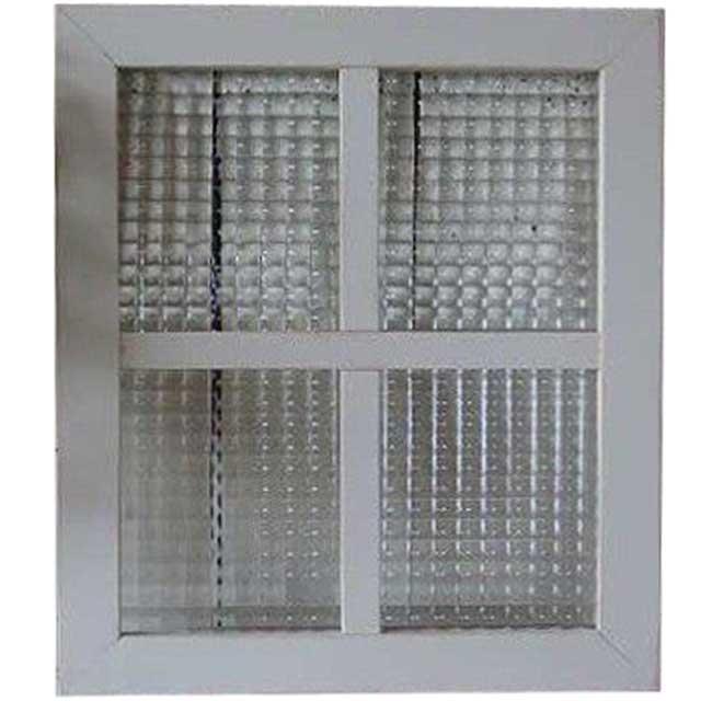 アンティークホワイト(シャビー仕上げ) チェッカーガラスのガラスフレーム 桟入りガラス窓(40×35cm) 北欧 オーダーメイド 1327933