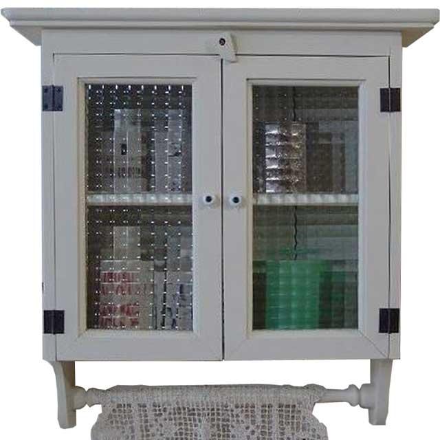 キャビネットシェルフ チェッカーガラス w45d14h47cm アンティークホワイト タオルハンガー付き 木製 ひのき オーダーメイド