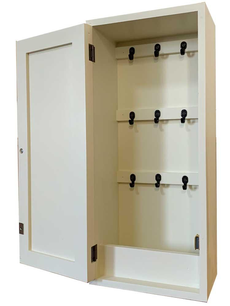 キーボックス w20d10h25 パンプキンノブ 三段 黒フック ニッチ用 木製 ひのき オーダーメイド