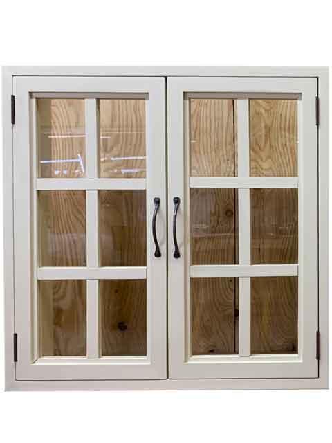 室内窓 透明ガラス扉 両面仕様 60x15x60cm アンティークホワイト 木製 ひのき ハンドメイド オーダーメイド 1327933