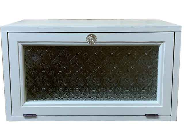 室内側郵便受け フローラガラス パンプキンノブ 36x23x20cm アンティークホワイト 木製 ひのき ハンドメイド オーダーメイド 1327933