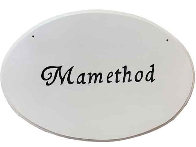 オーバル看板 ルーター仕上げ 文字1段タイプ アンティークホワイト 30×2×20.5cm 木製 ひのき ハンドメイド オーダーメイド 1327933