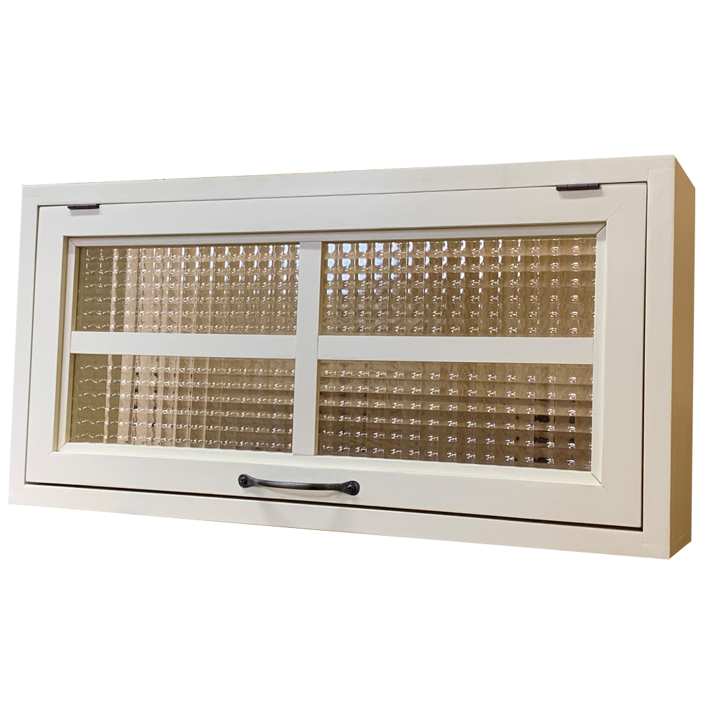 突き出し窓 チェッカーガラス フラップアップ式 片面仕様 60×15×30cm アンティークホワイト 扉の厚み3cm 木製 ひのき ハンドメイド オーダーメイド 1327933
