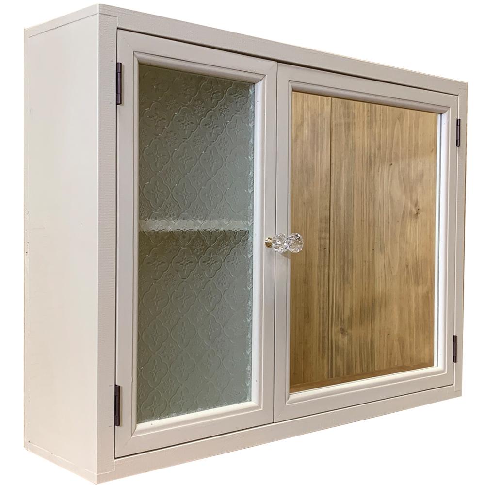 ガラス&ミラーキャビネット フローラガラス 両開き扉 アンティークホワイト 60×15×45cm 木製 ひのき ハンドメイド オーダーメイド