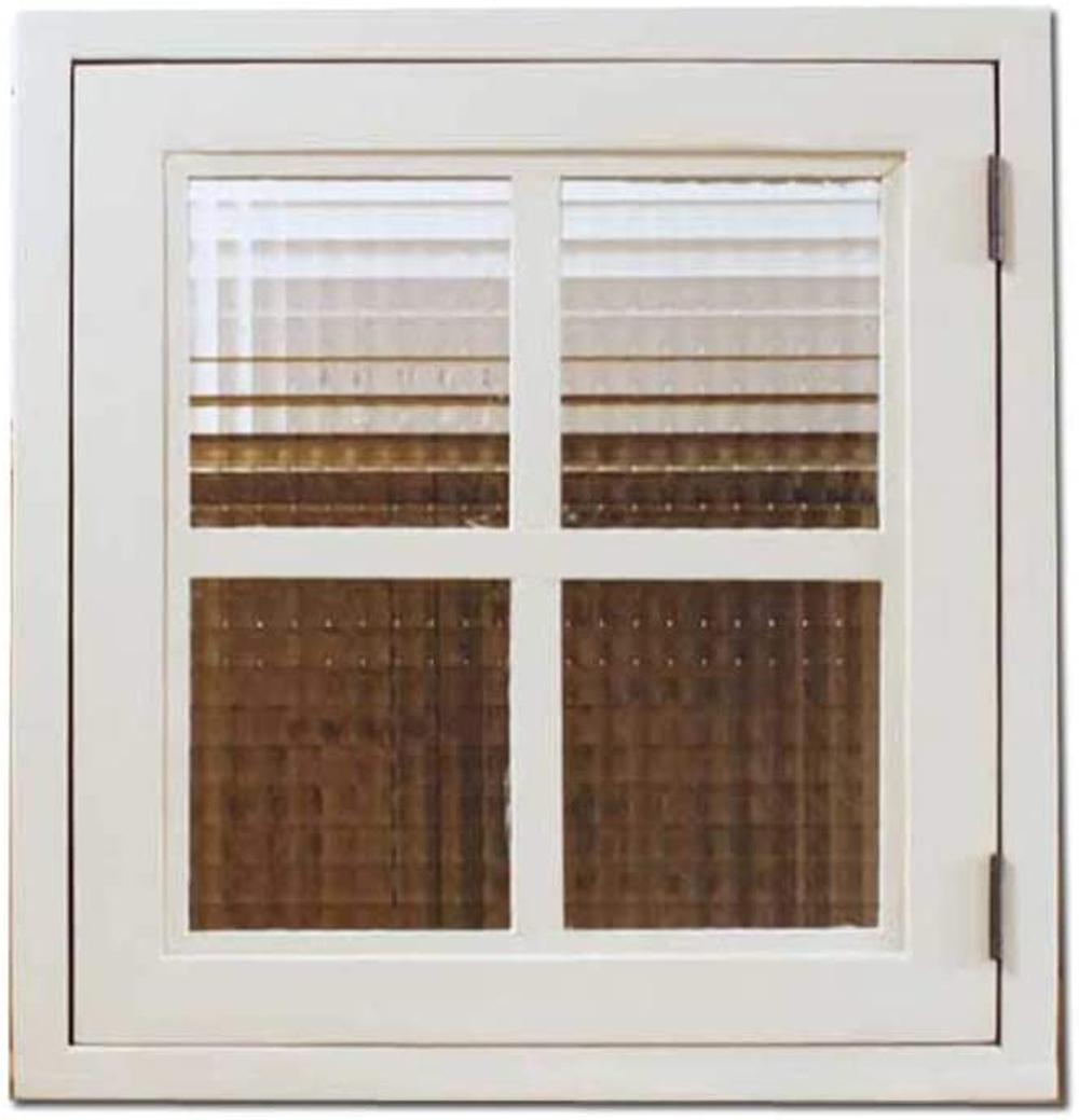 室内窓 採光窓 片右開き チェッカーガラス 両面桟入り アンティークホワイト 43×15×42cm 扉厚み3cm 木製 ひのき ハンドメイド オーダーメイド 1327933
