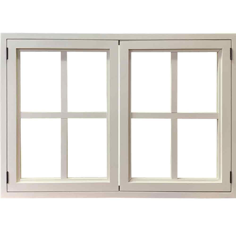 室内窓 透明ガラス扉 両面桟入り アイアンつまみ アンティークホワイト 78×15×55cm・厚み3cm 北欧 木製 ひのき オーダーメイド 1327933