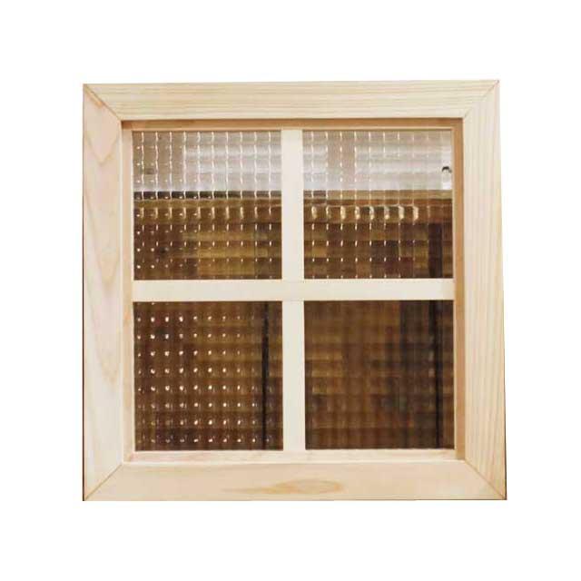フィックス窓 木製 ひのき チェッカーガラス ライトオーク 室内窓 片面十字桟入り 36×36cm・厚み3.5cm 北欧 オーダーメイド 1327933