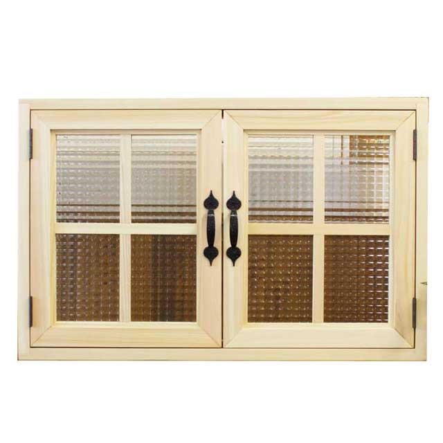 室内窓 採光窓 木製 ひのき チェッカーガラス扉 両面桟入りガラス窓 70×15×45cm扉厚み3cm ライトオーク オーダーメイド 1327933