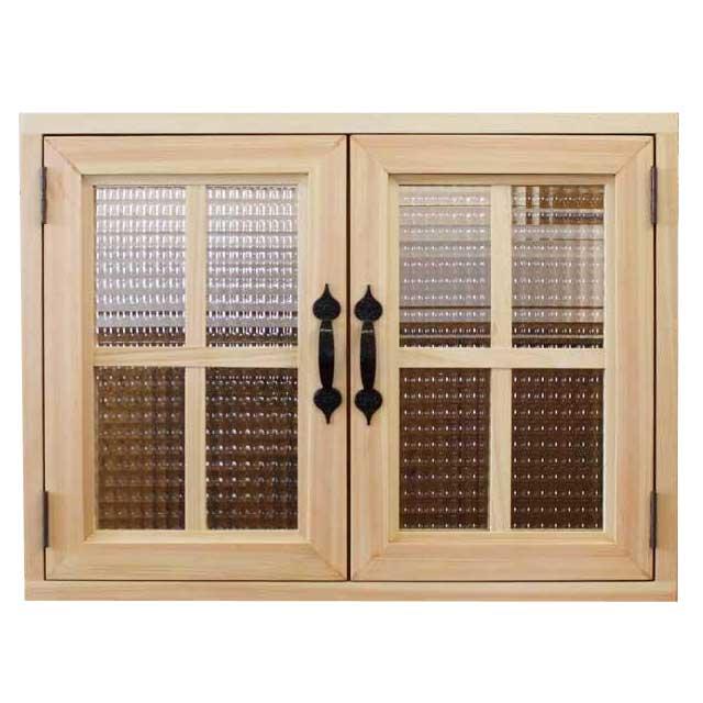 室内窓 チェッカーガラス扉 ライトオーク 60×15×45cm・扉厚み3cm マグネット仕様 両面十字桟・取っ手つき 木製 ひのき オーダーメイド