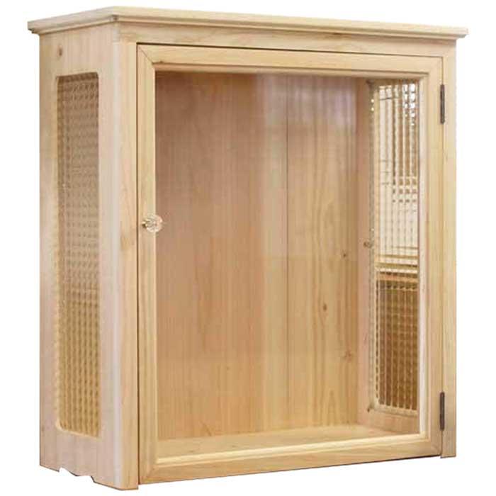 キャビネット ディスプレイケース 木製 ひのき 透明ガラス扉 側面チェッカーガラス 52×23×59cm ライトオーク オーダーメイド