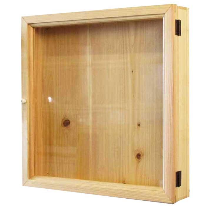 コレクションケース 透明ガラス扉 ライトオーク w40d7h40cm 四角 木製 ひのき オーダーメイド