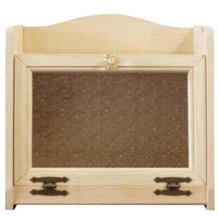 ライトオーク キッチン収納ケース 木製 ブレッドケース w35d25h32cm オーダーメイド フローラガラス扉 パンプキンノブ ひのき