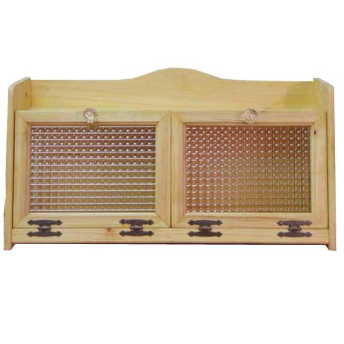 ブレッドケース ダブルサイズ w60d25h32cm ライトオーク チェッカーガラス扉 パンプキンノブ 側面ガラス 木製 ひのき オーダーメイド