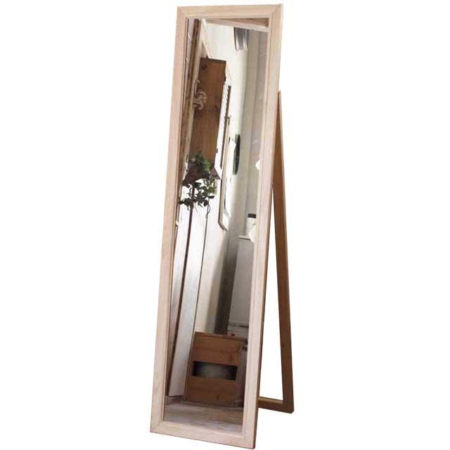 スリムミラー ライトオーク w39d4h150cm 置き型 壁掛け 木製 ひのき オーダーメイド