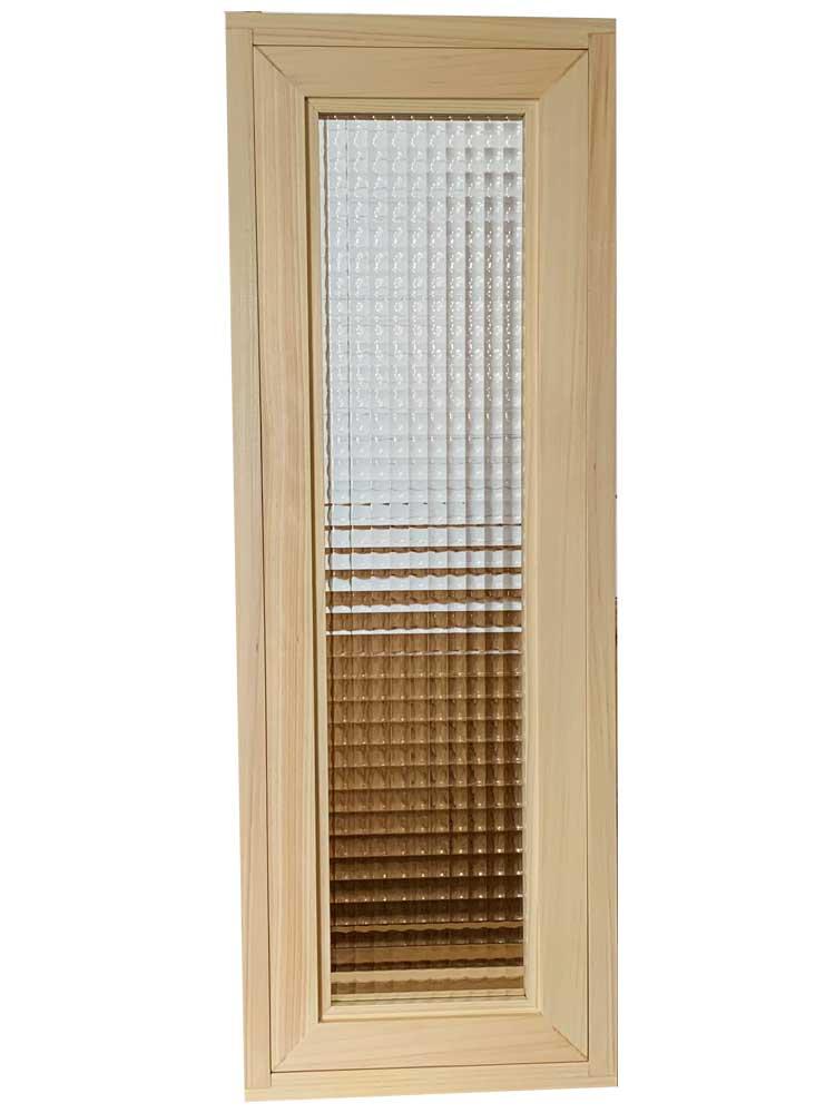 採光窓 FIX窓 室内窓 チェッカーガラス ライトオーク w25d15h70cm ひのき 木製 ハンドメイド オーダーメイド 1327933