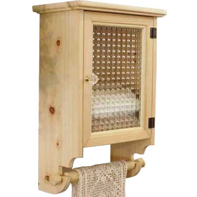 タオルストッカー 木製 ひのき フランス製チェッカーガラス扉 三つ折りサイズ タオルハンガーつき(ライトオーク)受注製作