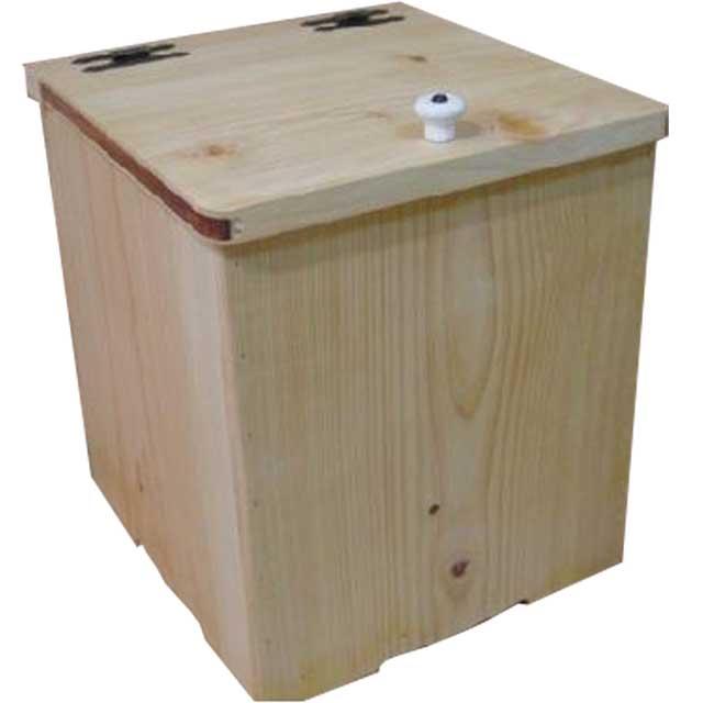 ダストボックス 背板なし ライトオーク w22d28h30cm ポリ袋止め・ふた・つまみ付き 木製 ひのき オーダーメイド