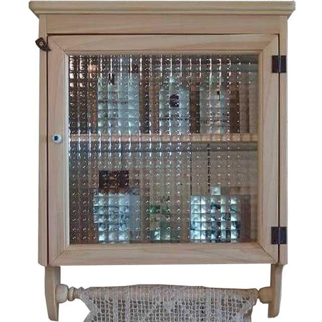キャビネット 壁掛け w37d14h47cm ライトオーク チェッカーガラス扉 片開き 二段棚 ハンガーつき 木製 ひのき オーダーメイド