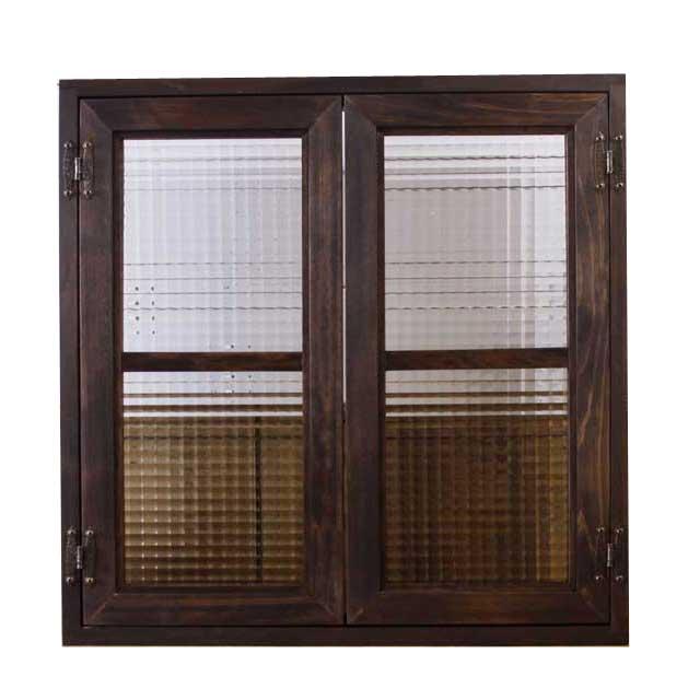 室内窓 採光窓 フランス製チェッカーガラス 木製 ひのき ダークブラウン 60×15×60cm扉厚み3cm マグネット仕様 受注製作