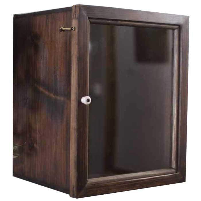 ディスプレイケース 透明ガラス ダークブラウン w25d22h31cm 奥行広め 木製 ひのき オーダーメイド