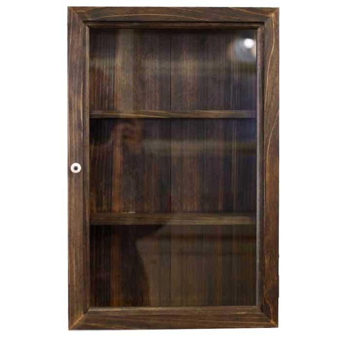 コレクションケース 透明ガラス扉 ダークブラウン w29d10h44cm 三段棚 木製 ひのき オーダーメイド 1239454