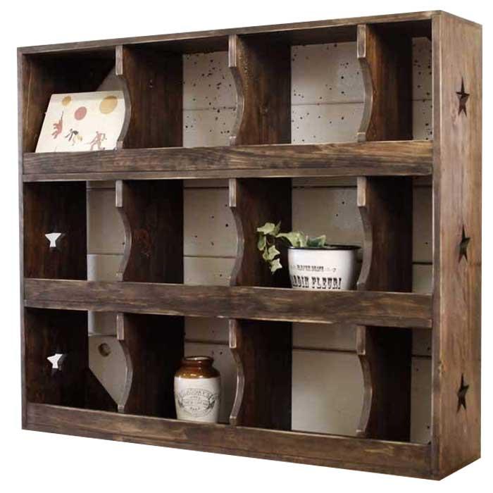 コレクションラック マス目 ダークブラウン w70d16h60cm 壁掛け 棚 木製 ひのき オーダーメイド