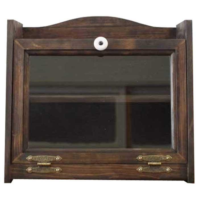 ブレッドケース 透明ガラス扉 w35d25h32cm ダークブラウン 可動式棚つき 収納ケース 木製 ひのき オーダーメイド 1354963