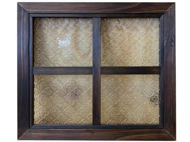 ガラスフレーム フローラガラス 片面 40x2x35cm ダークブラウン 木製 ひのき ハンドメイド オーダーメイド 1327933