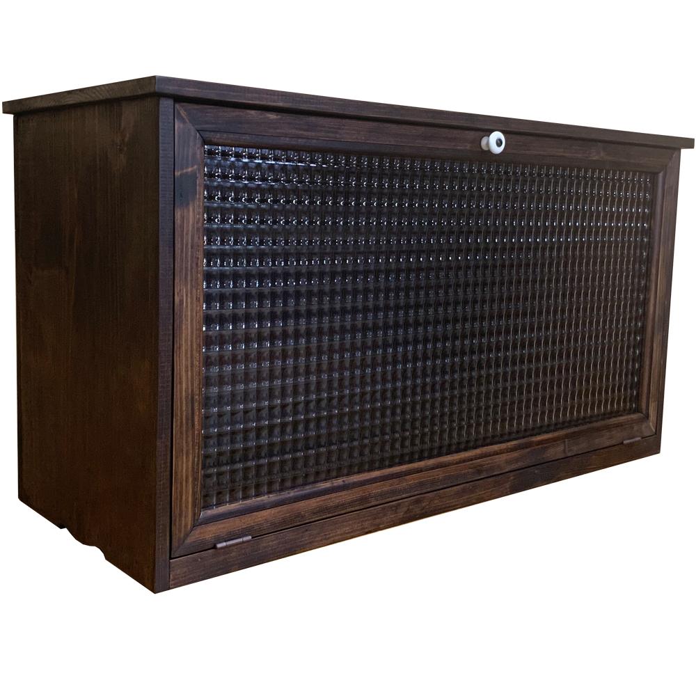 キャビネット チェッカーガラス扉 70×27×36.5cm ダークブラウン 横型 木製 ひのき ハンドメイド オーダーメイド