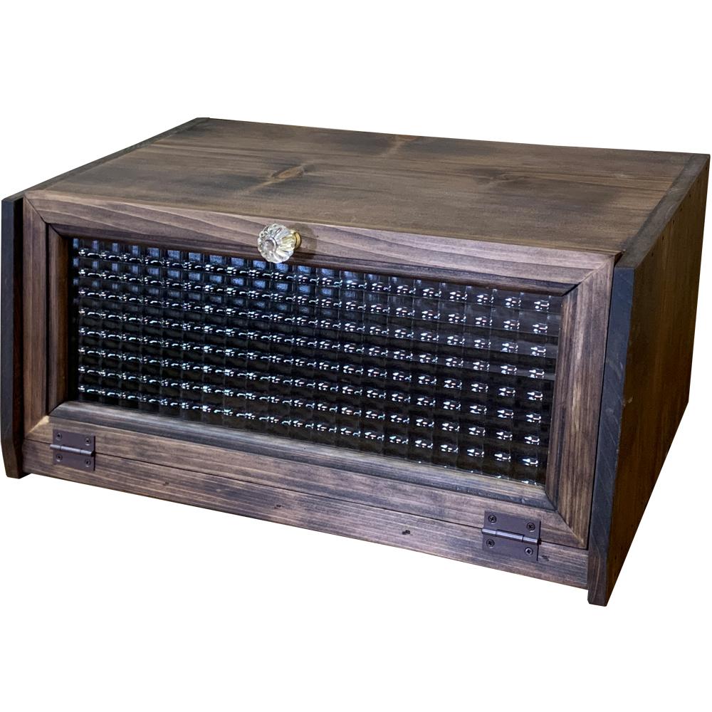 ブレッドケース 角型 木製扉 横長タイプ 40×28×18cm アンティークブラウン 木製 ひのき ハンドメイド オーダーメイド