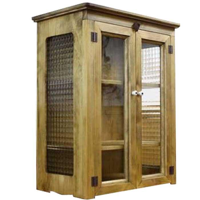 キャビネット 木製 ひのき 透明ガラス扉 側面チェッカーガラス 棚可動式 置き型キャビネット 42×25×51cm(アンティークブラウン) オーダーメイド