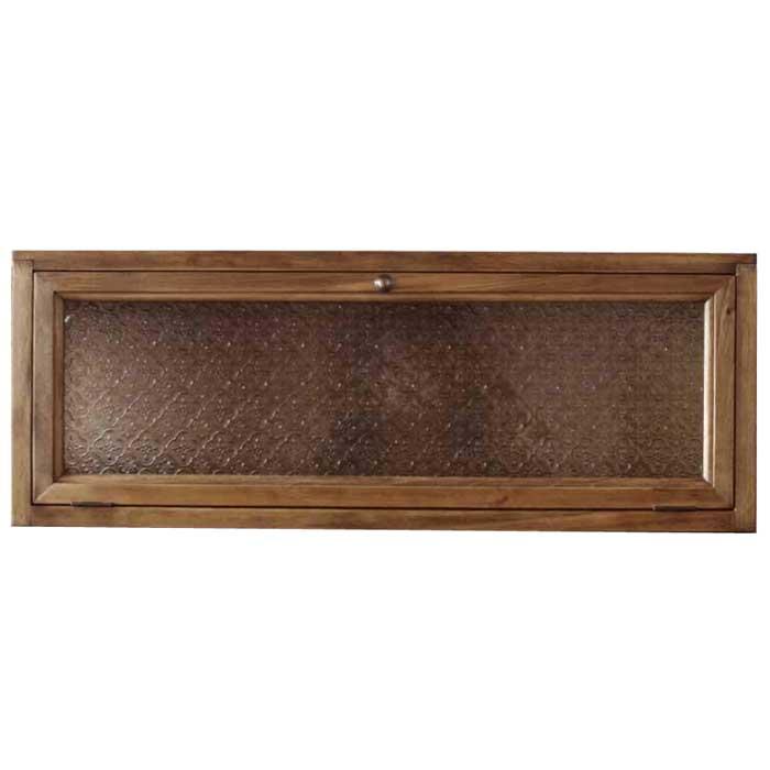 横型キャビネット ニッチ用埋め込みタイプ w70d17h26cm アンティークブラウン フローラガラス扉 木製 ひのき 受注製作