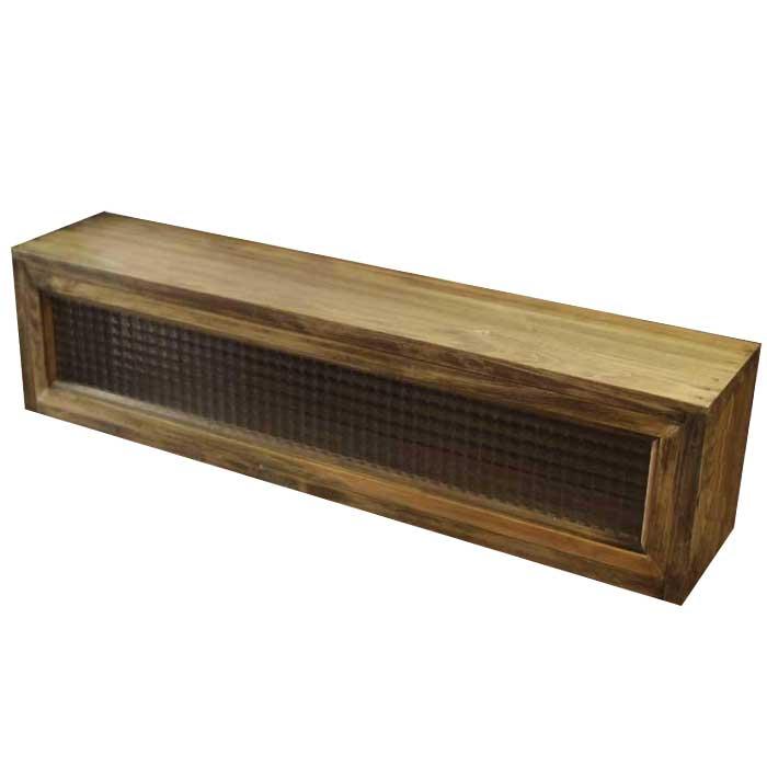 キッチンカウンター上収納 木製 ひのき アンティークブラウン チェッカーガラス キッチン見せる収納ボックス スパイスラック 80×17×20cm オーダーメイド