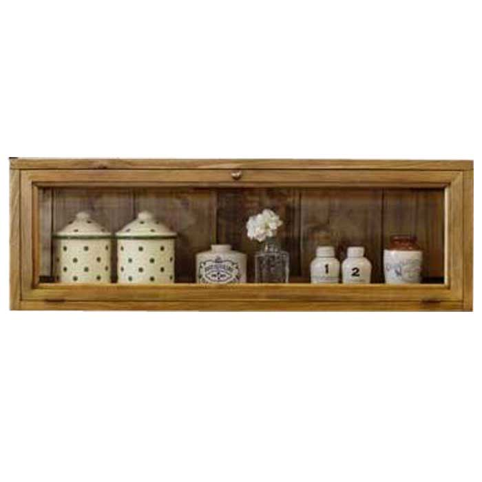 キャビネット 透明ガラス扉 アンティークブラウン w80d17h26cm 横型 ニッチ用埋め込み 真鍮取っ手 木製 ひのき オーダーメイド