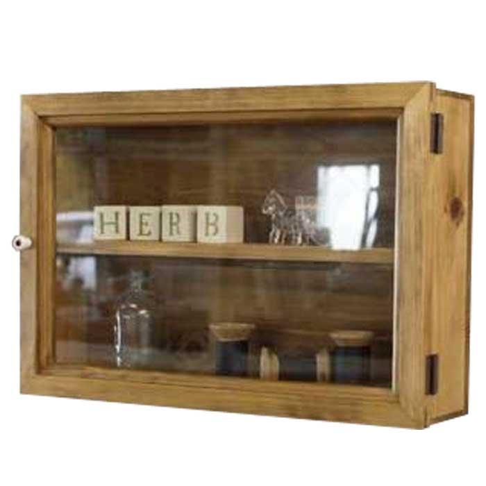 コレクションケース 透明ガラス扉 アンティークブラウン w40d10h27cm 棚付き 木製 ひのき オーダーメイド 1380051