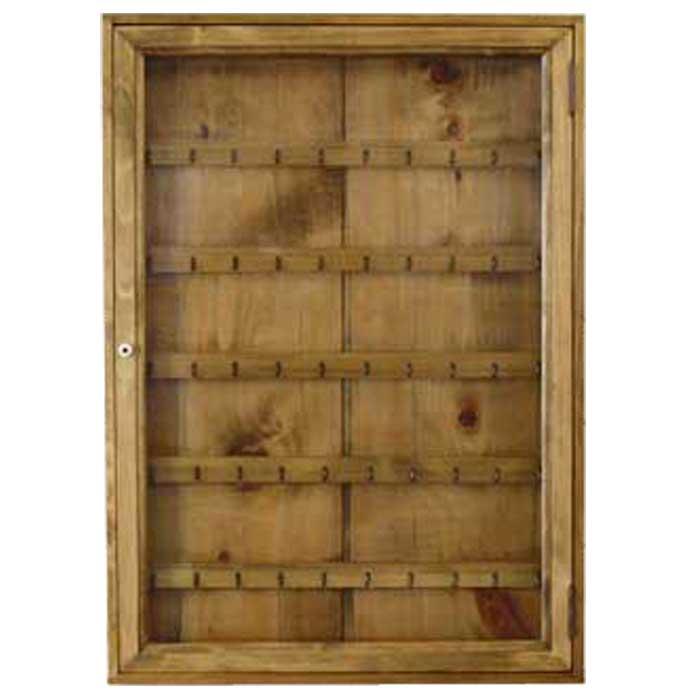 コレクションケース ブルボンキーホルダー用 アンティークブラウン w50d7h70cm 透明ガラス扉 木製 ひのき オーダーメイド