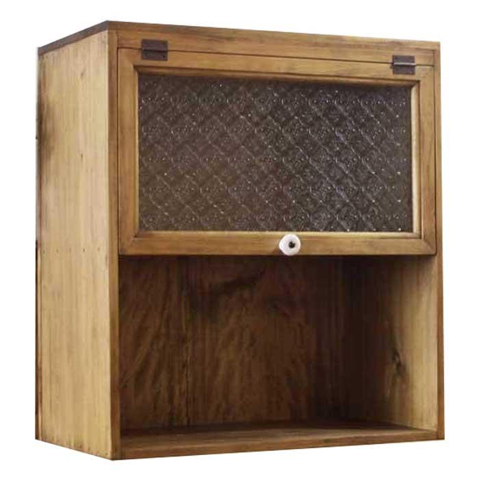 スパイスラック 木製 ひのき アンティークブラウン フローラガラス扉 シェルフ 二段ラック 置き型タイプ 45×25×50cm オーダーメイド