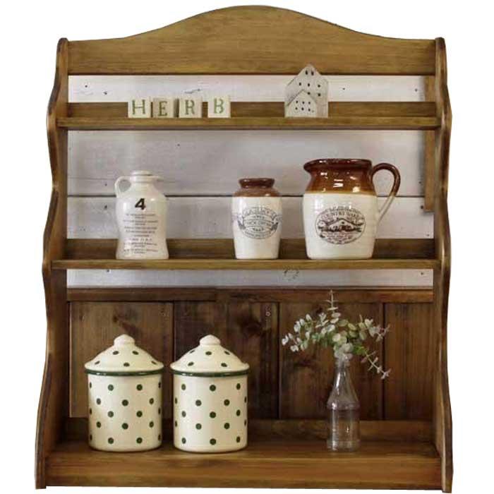 スパイスラック 木製 ひのき 三段ラック 収納棚 キッチン収納 55×19×66cm アンティークブラウン オーダーメイド