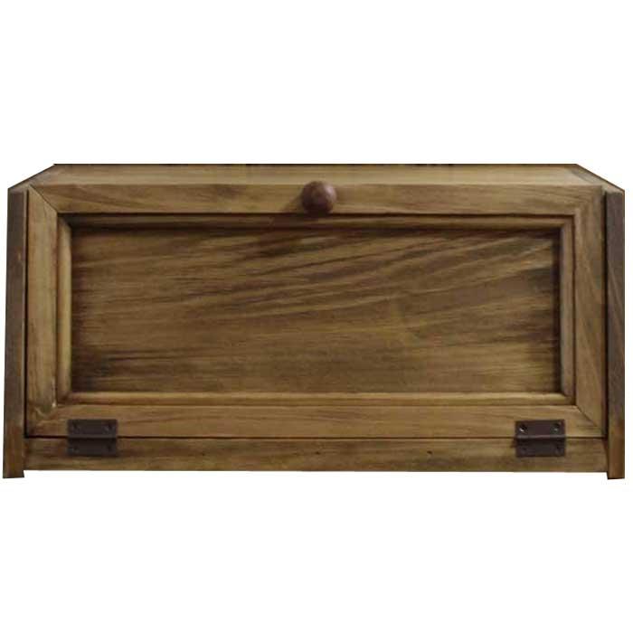 ブレッドケース 木製扉 アンティークブラウン w40d28h18cm 木製つまみ 横長 角型 木製 ひのき 受注製作