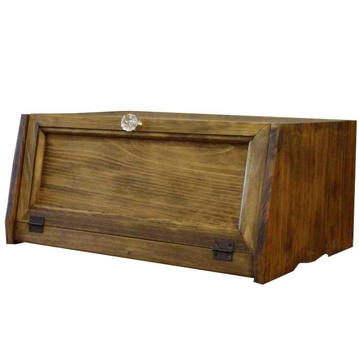 ブレッドケース 角型 w40d28h18cm アンティークブラウン 木製扉 横長タイプ 木製 ひのき オーダーメイド