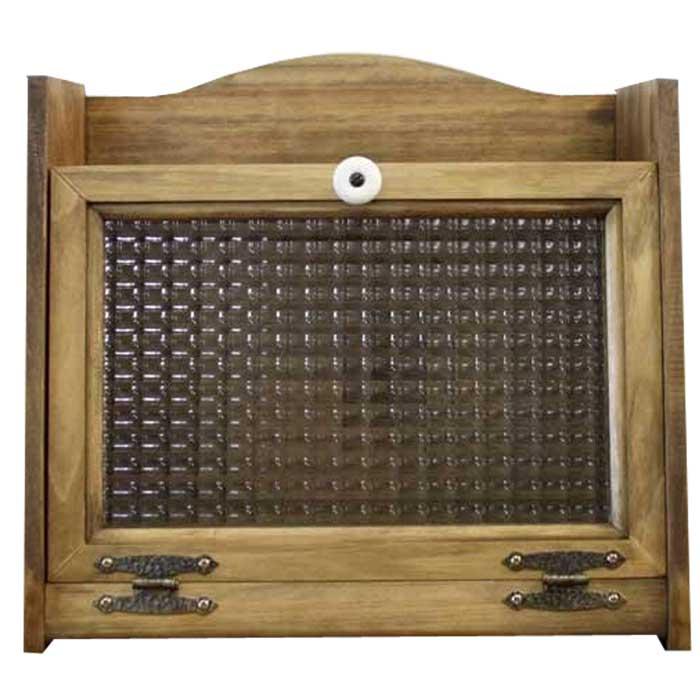 ブレッドケース チェッカーガラス扉 w35d25h32cm アンティークブラウン 木製 ひのき オーダーメイド