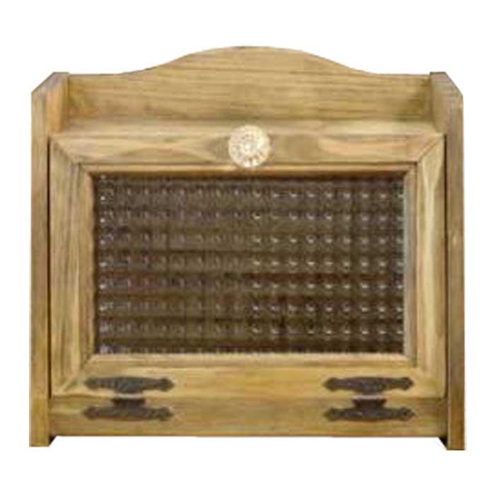 ブレッドボックス ブレッドケース 収納ケース パンケース 調味料ラック ミディアムサイズ 国産ひのき 木製 30×21×26センチ フランス製チェッカーガラス扉 パンプキンノブ アンティークブラウン カントリー 受注製作 ハンドメイド 手作り
