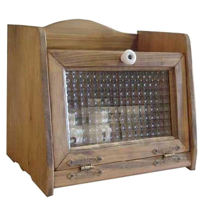 アンティークブラウン ブレッドケース w30d21h26cm 木製 チェッカーガラス ミディアムサイズ ひのき オーダーメイド
