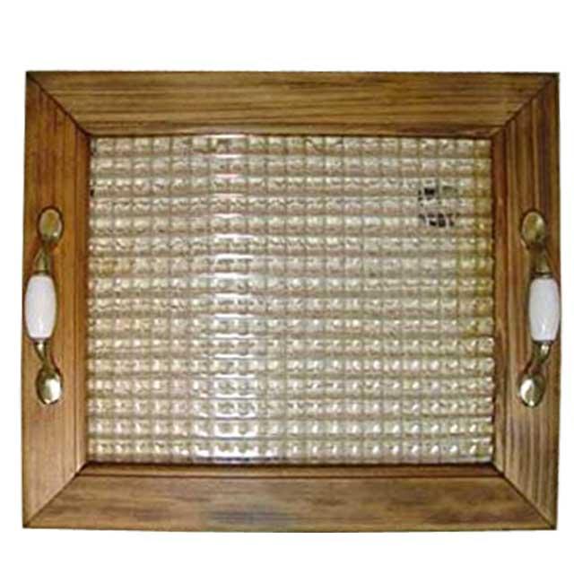 トレイ チェッカーガラス w35d30h5.5cm アンティークブラウン ウッドトレイ 木製 ひのき オーダーメイド 1354963
